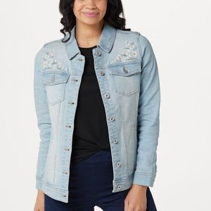 Denim & Co. Classic Denim Jacket with Embroidery